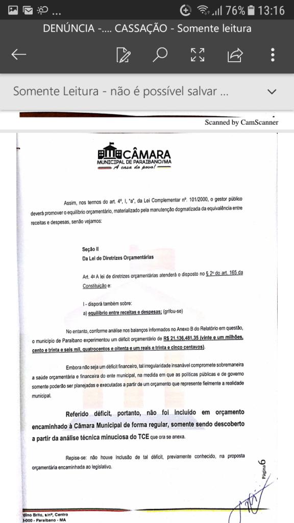 Screenshot 20190219 131600 576x1024 - Protocolado na Câmara Municipal pedido de cassação do mandato do prefeito Zé Hélio de Paraibano/MA - minuto barra