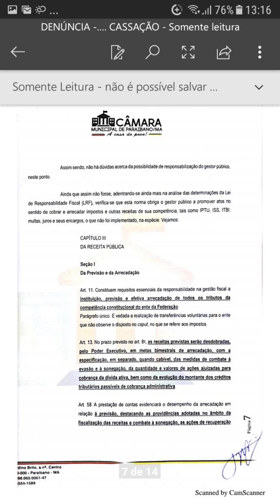 Screenshot 20190219 131604 576x1024 - Protocolado na Câmara Municipal pedido de cassação do mandato do prefeito Zé Hélio de Paraibano/MA - minuto barra