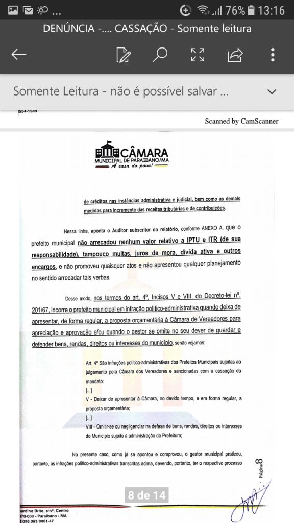 Screenshot 20190219 131608 576x1024 - Protocolado na Câmara Municipal pedido de cassação do mandato do prefeito Zé Hélio de Paraibano/MA - minuto barra
