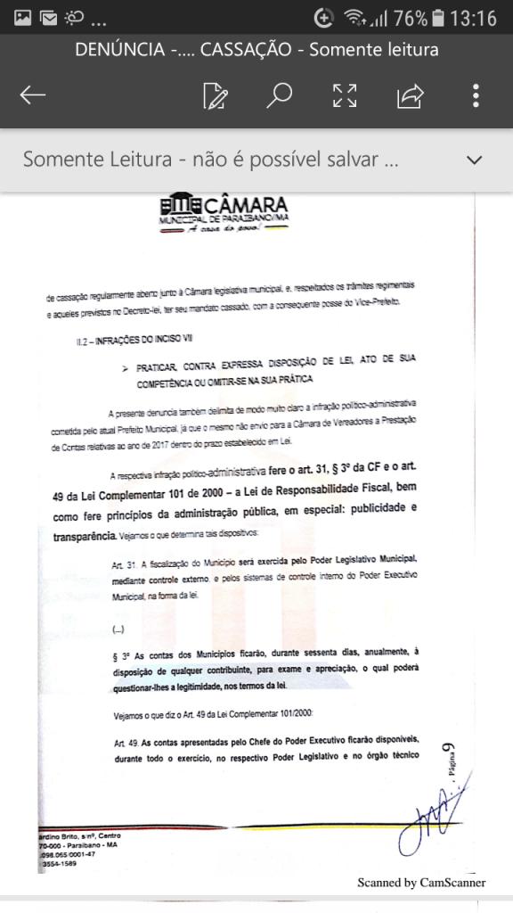 Screenshot 20190219 131612 576x1024 - Protocolado na Câmara Municipal pedido de cassação do mandato do prefeito Zé Hélio de Paraibano/MA - minuto barra