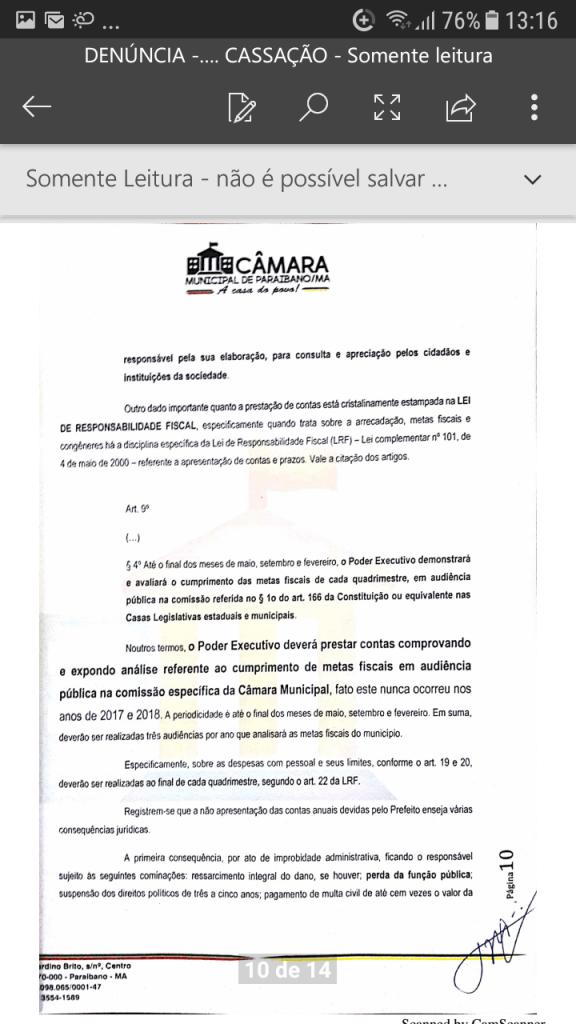 Screenshot 20190219 131615 576x1024 - Protocolado na Câmara Municipal pedido de cassação do mandato do prefeito Zé Hélio de Paraibano/MA - minuto barra