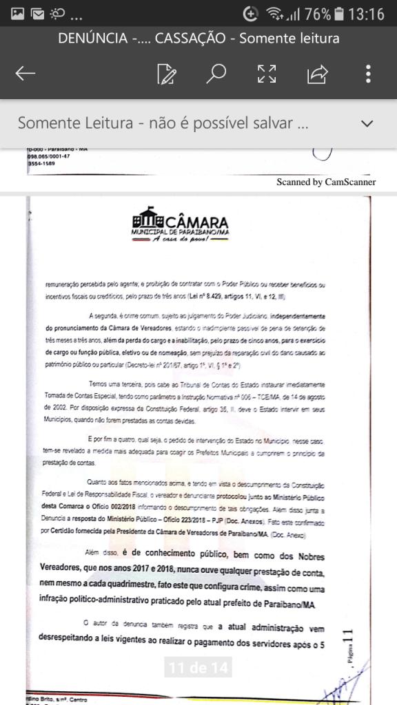 Screenshot 20190219 131619 576x1024 - Protocolado na Câmara Municipal pedido de cassação do mandato do prefeito Zé Hélio de Paraibano/MA - minuto barra