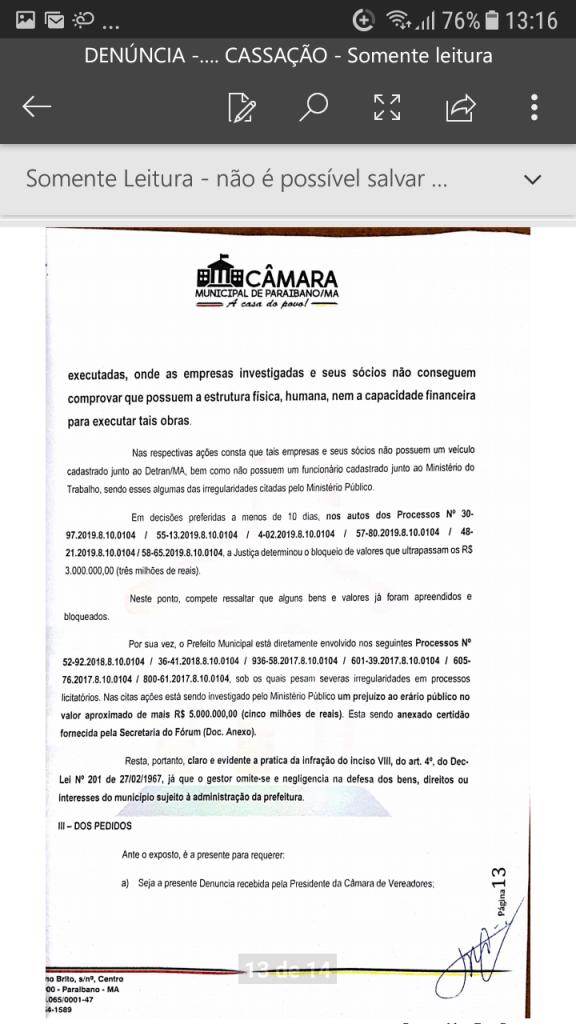 Screenshot 20190219 131627 576x1024 - Protocolado na Câmara Municipal pedido de cassação do mandato do prefeito Zé Hélio de Paraibano/MA - minuto barra
