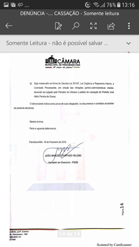 Screenshot 20190219 131631 576x1024 - Protocolado na Câmara Municipal pedido de cassação do mandato do prefeito Zé Hélio de Paraibano/MA - minuto barra