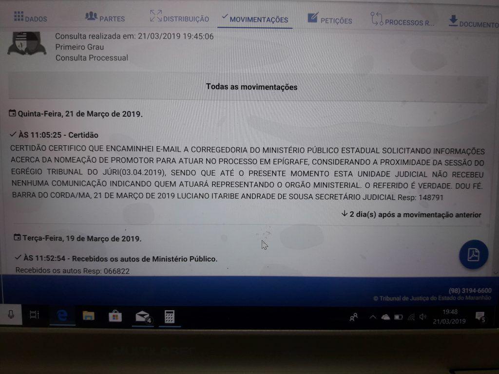 20190321 195118 1024x768 - Justiça em Barra do Corda cobra da Corregedoria do MP indicação de promotor para júri de Paulim Bandeira, Wilson Silva e Douglas Ferreira - minuto barra