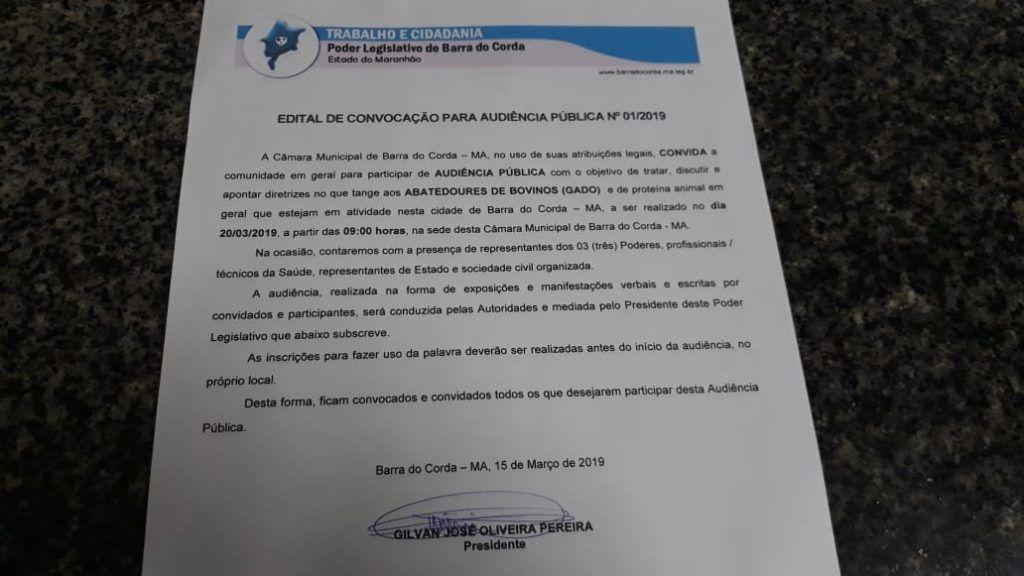 IMG 20190315 WA0155 1024x576 - Presidente Gil Lopes convoca audiência para debater funcionamento de abatedouros de gado em Barra do Corda - minuto barra