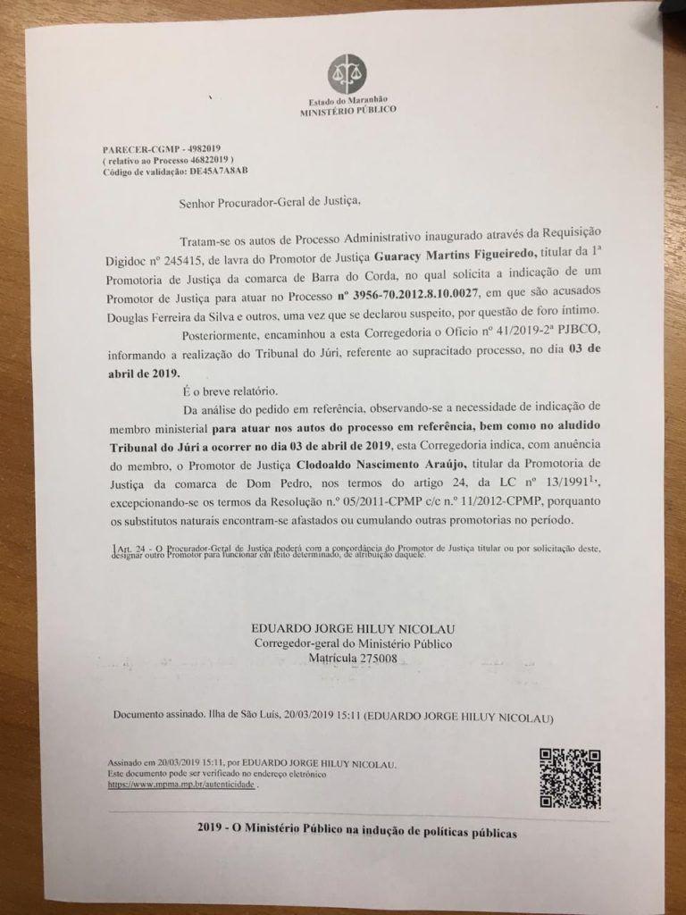 IMG 20190322 WA0157 768x1024 - Corregedor indica promotor de Dom Pedro para o júri de Paulim Bandeira, Wilson Silva e Douglas Ferreira em Barra do Corda - minuto barra