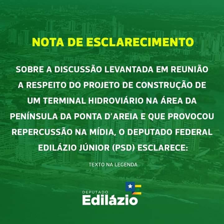 FB IMG 1555115778167 - Nota de Esclarecimento do deputado federal Edilázio Júnior - minuto barra