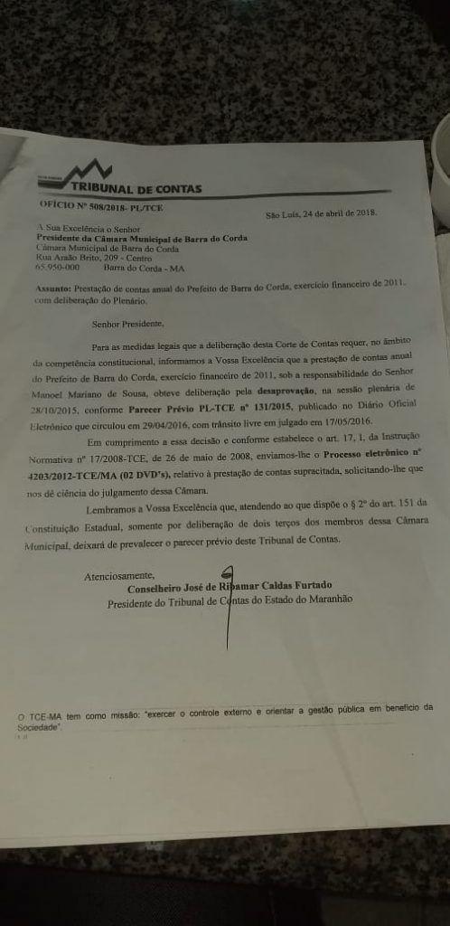 IMG 20190416 WA0332 498x1024 - URGENTE!! Câmara de Barra do Corda vota neste momento Prestação de Contas do ex-prefeito Nenzin referente ao ano 2011 - minuto barra