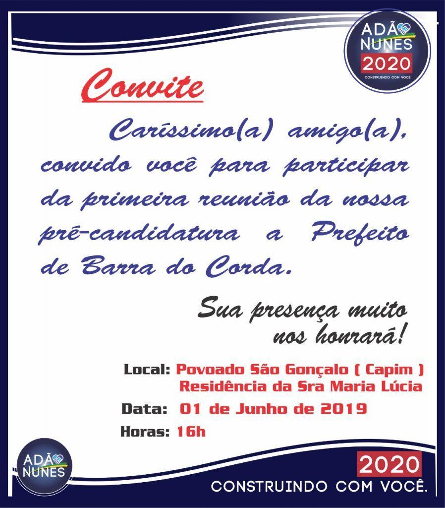 IMG 20190530 WA0207 898x1024 - ELEIÇÕES 2020: Adão Nunes lança neste sábado sua pré-candidatura ao cargo de prefeito em Barra do Corda - minuto barra