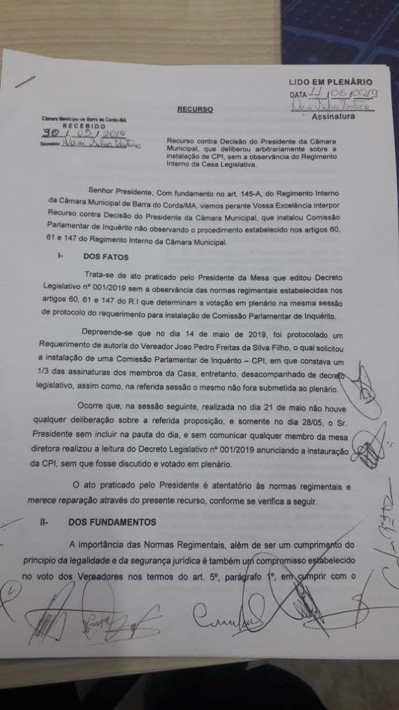 IMG 20190612 WA0037 576x1024 - VEJA AQUI: 11 vereadores assinam documento para acabar com CPI que pretende apurar mortes de bebês em Barra do Corda - minuto barra