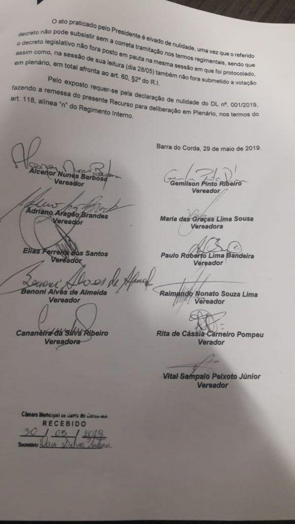 IMG 20190612 WA0039 576x1024 - VEJA AQUI: 11 vereadores assinam documento para acabar com CPI que pretende apurar mortes de bebês em Barra do Corda - minuto barra