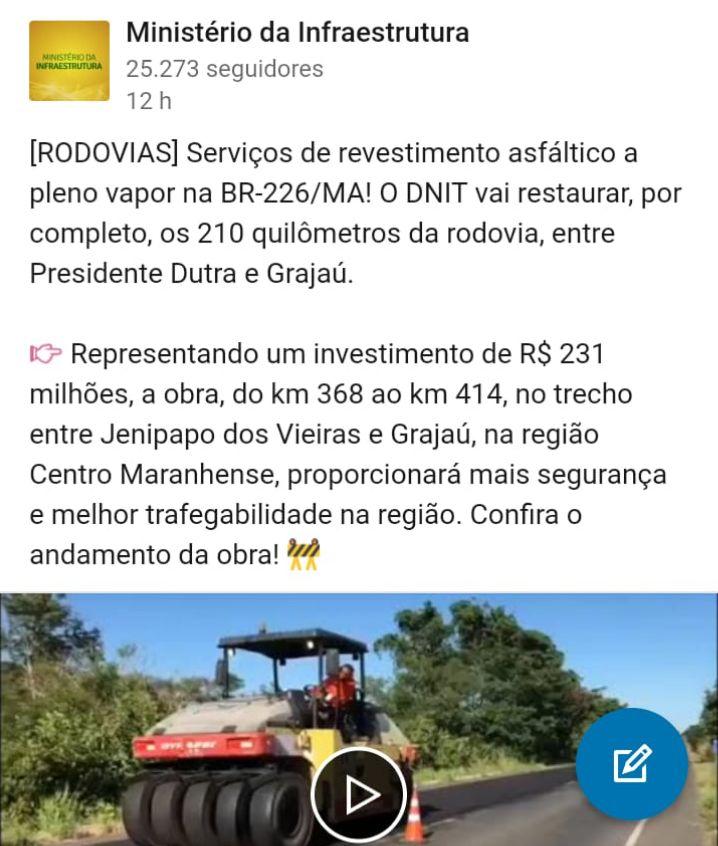 CollageMaker 20190704 065630784 - Após cobranças de Hildo Rocha, governo federal inicia recuperação de 210 km da Br-226 entre Grajaú, Barra do Corda até Presidente Dutra - minuto barra