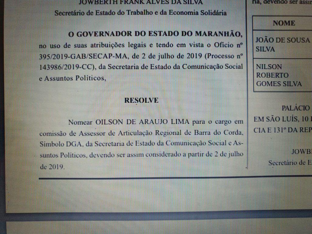 IMG 20190712 WA0060 1024x768 - Flávio Dino nomeia Oilson Lima para o cargo de Assessor de Articulação da regional de Barra do Corda - minuto barra