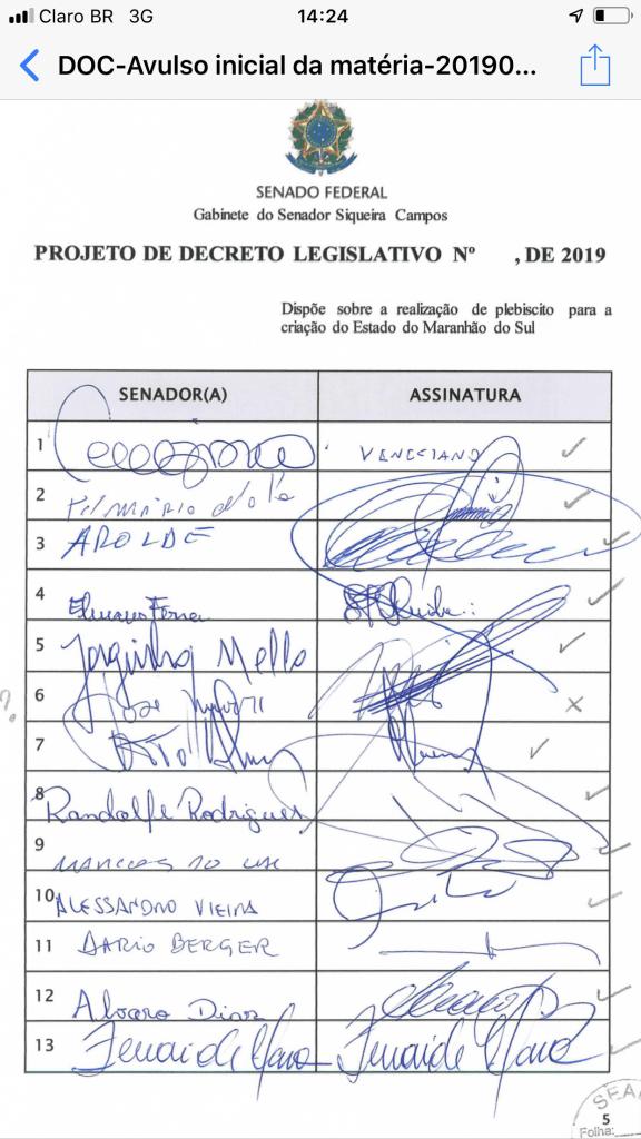 06C3E603 C6EF 43B9 A422 966106F01535 576x1024 - URGENTE!! 27 senadores assinam PL para criação do Estado Maranhão do Sul - minuto barra