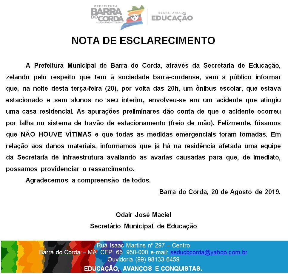 48209EAA EF8D 427F AB54 98D18DC69833 - Secretário de educação emite nota referente ao ônibus escolar que invadiu residência em Barra do Corda - minuto barra