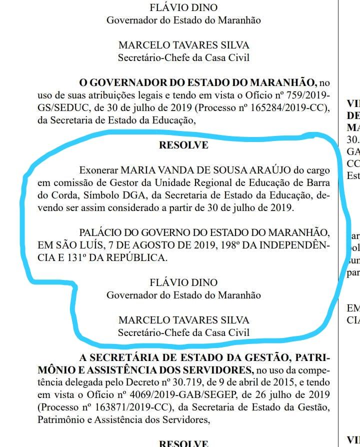 92105431 54E6 46F4 B0C4 9DD76D8E4FFA - Flávio Dino exonera professora Vanda do cargo de gestora da URE de Barra do Corda e nomeia professor Claudio - minuto barra