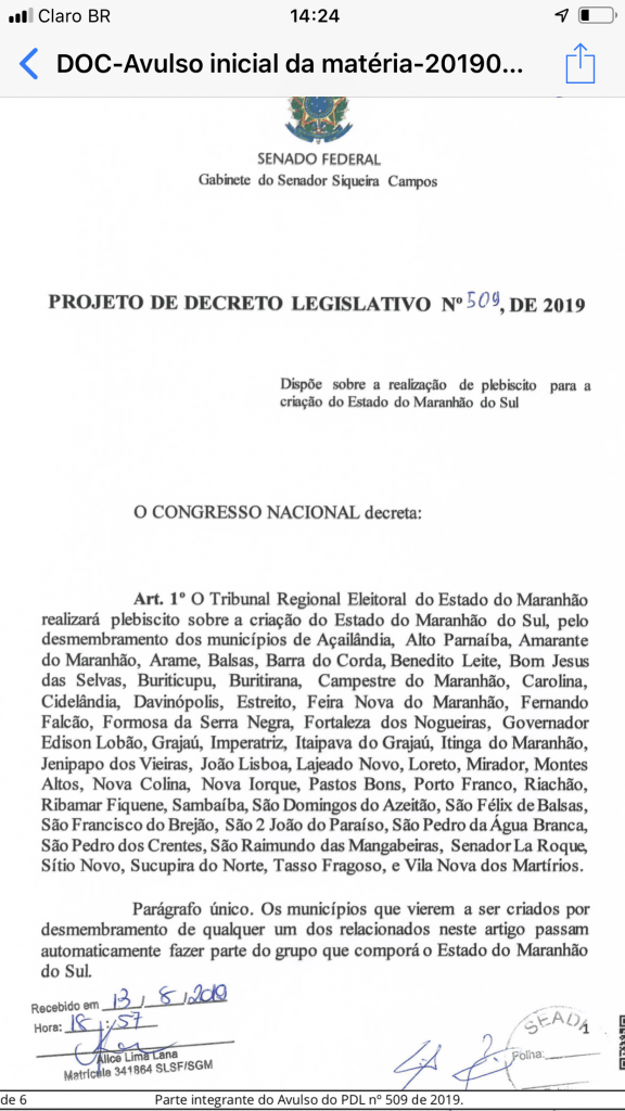 F2388F53 EE3D 4D9B 8664 C1BC52A8E535 576x1024 - URGENTE!! 27 senadores assinam PL para criação do Estado Maranhão do Sul - minuto barra