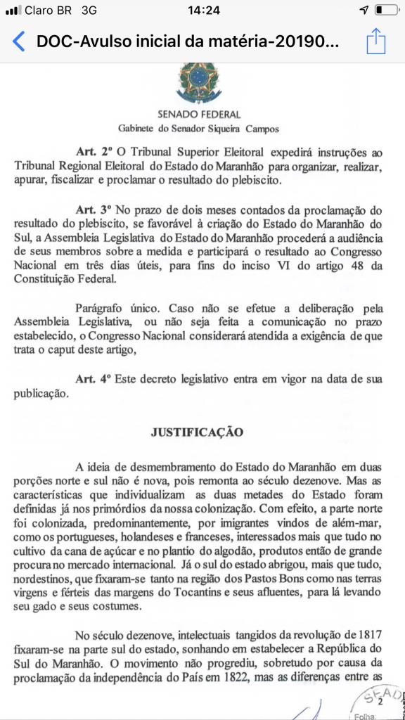 FDA103F2 329C 4D84 9910 25186F7BB168 576x1024 - URGENTE!! 27 senadores assinam PL para criação do Estado Maranhão do Sul - minuto barra