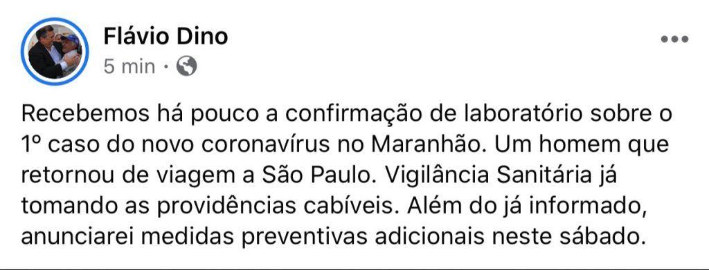 maranhao registra o primeiro caso de coronavirus anuncia flavio dino 1024x391 - Maranhão registra o primeiro caso de Coronavírus, anuncia Flávio Dino - minuto barra