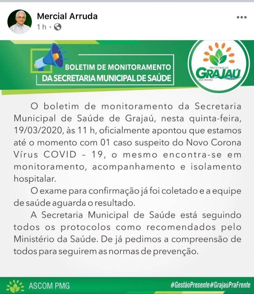 prefeito mercial arruda comunica que grajau tem o primeiro caso suspeito do coronavirus 883x1024 - Prefeito Mercial Arruda comunica que Grajaú tem o primeiro caso suspeito do Coronavírus - minuto barra