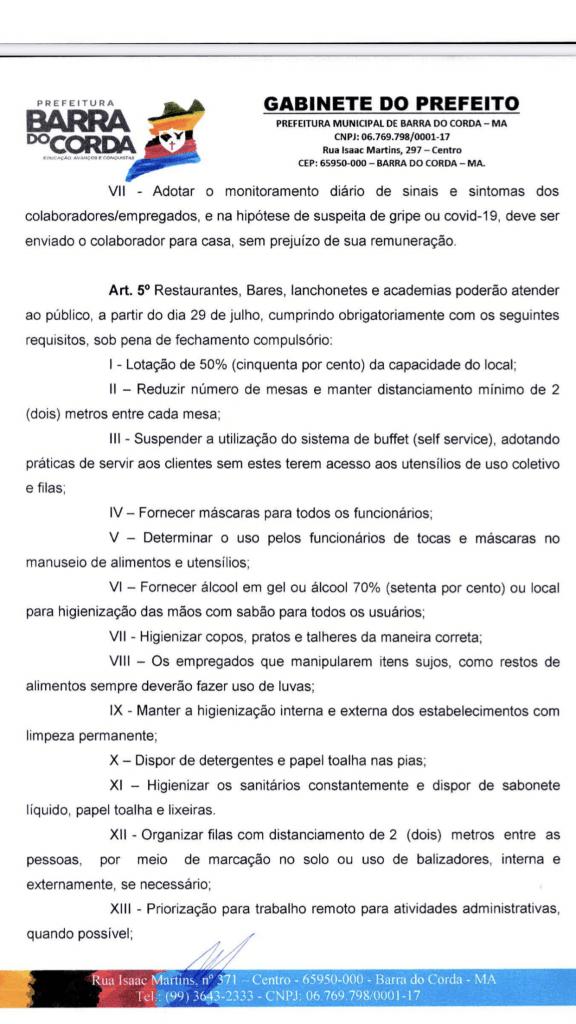 novo decreto prefeito eric costa autoriza reabertura de bares restaurantes e lanchonetes em barra do corda 4 576x1024 - NOVO DECRETO: Prefeito Eric Costa autoriza reabertura de bares, restaurantes e lanchonetes em Barra do Corda - minuto barra