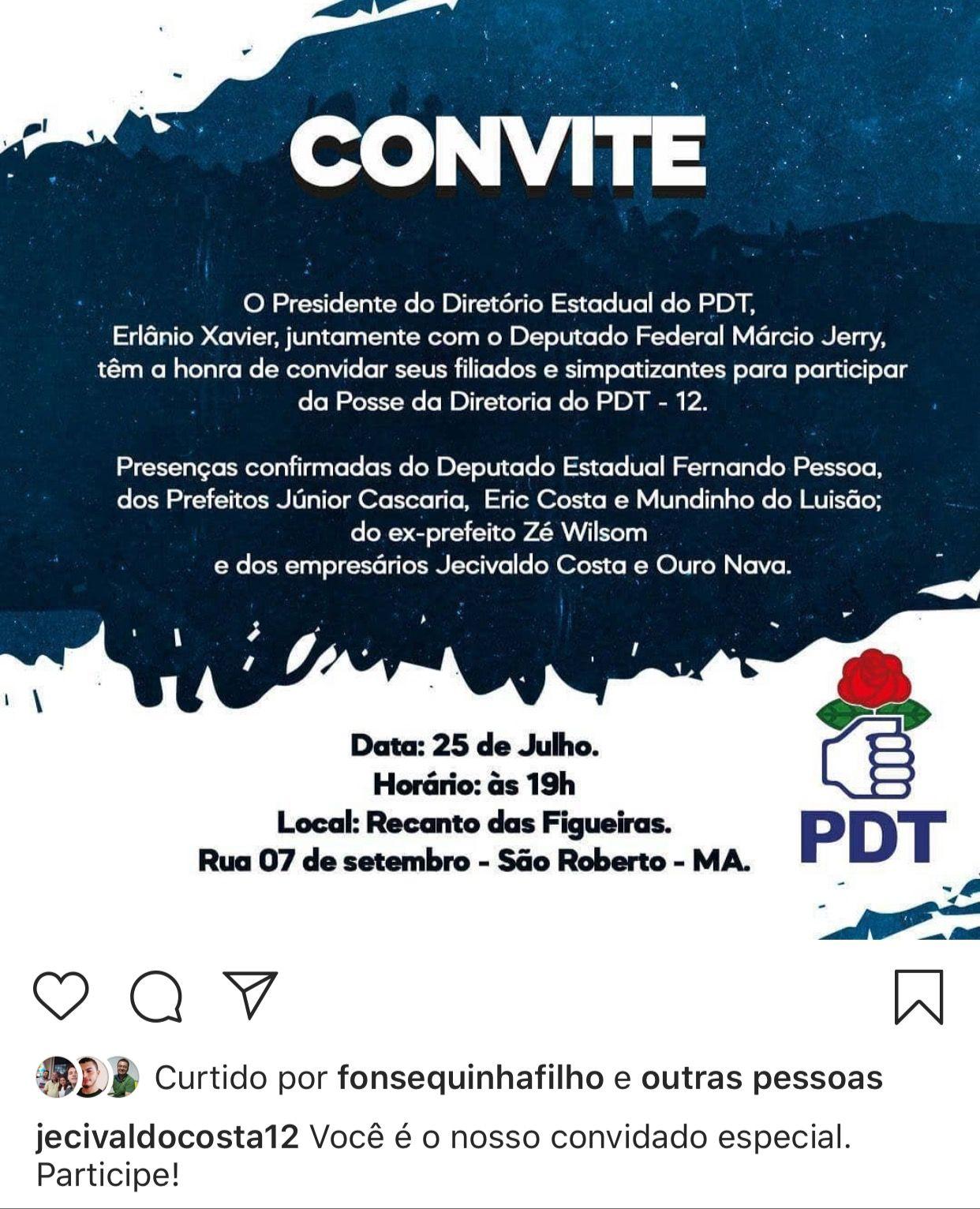 URGENTE!! Justiça cancela evento do partido de Jecivaldo Costa, pré-candidato a prefeito de São Roberto