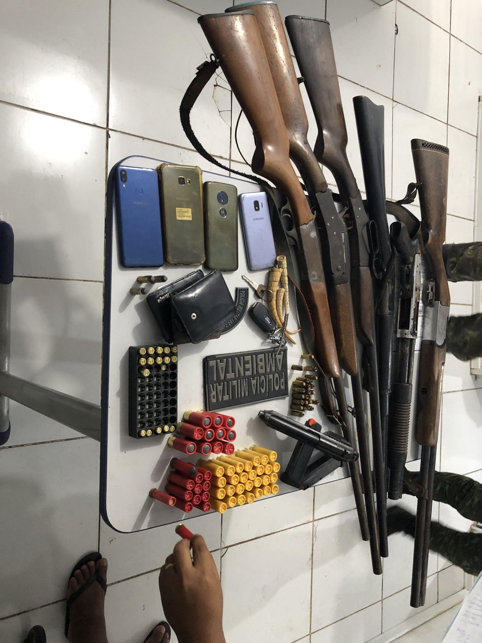 Polícia Ambiental do Maranhão prende quatro pessoas em Fernando Falcão em posse de um arsenal de armas de grosso calibre