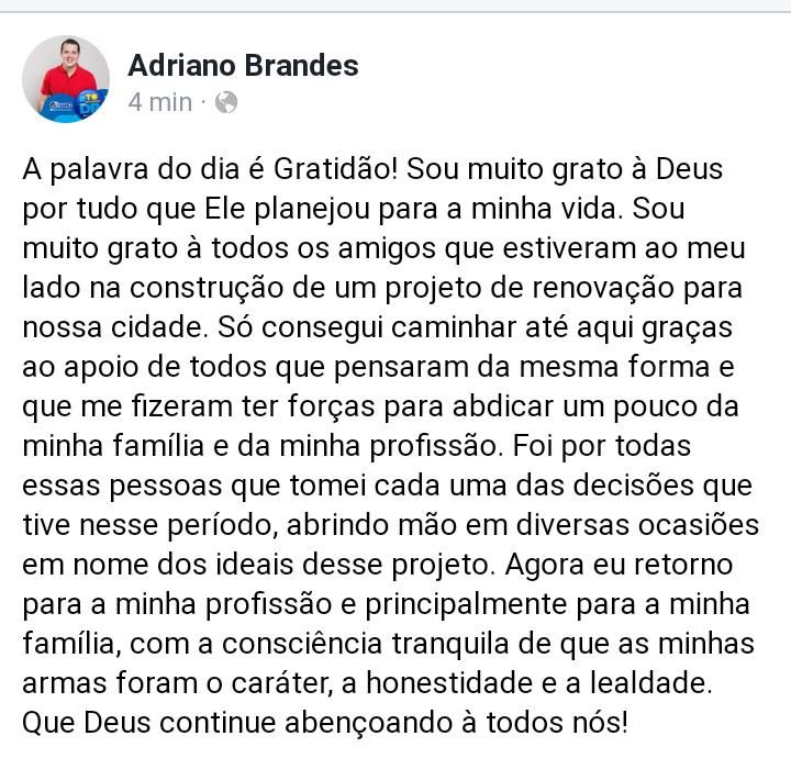 Dr Adriano Brandes joga a tolha e não participará da campanha do grupo Eric Costa em Barra do Corda