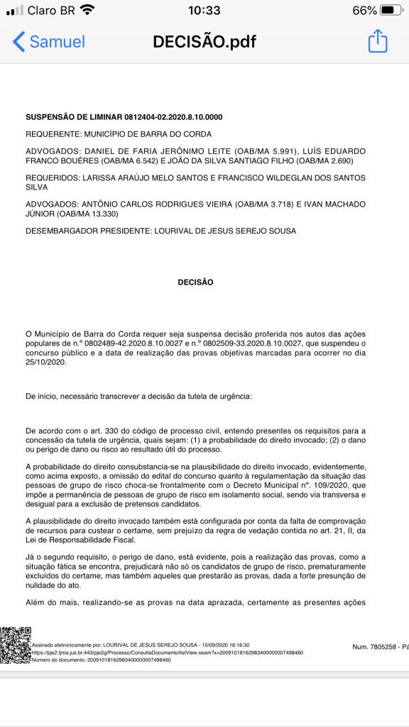 urgente presidente do tribunal de justica nega pedido de eric costa e mantem suspensao do concurso publico de barra do corda 1 576x1024 - URGENTE!! Presidente do Tribunal de Justiça nega pedido de Eric Costa e mantém suspensão do concurso público de Barra do Corda