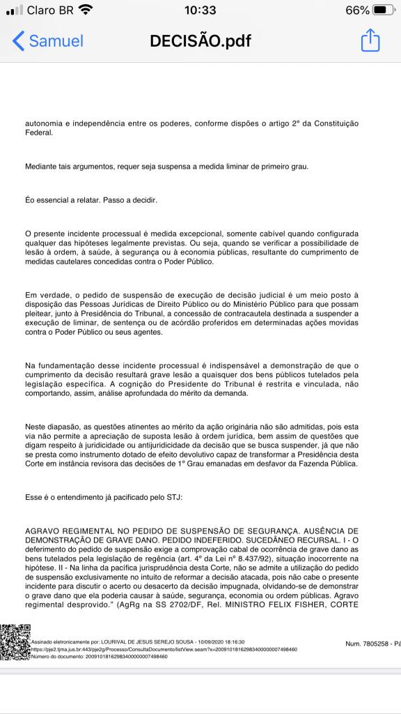 urgente presidente do tribunal de justica nega pedido de eric costa e mantem suspensao do concurso publico de barra do corda 3 576x1024 - URGENTE!! Presidente do Tribunal de Justiça nega pedido de Eric Costa e mantém suspensão do concurso público de Barra do Corda