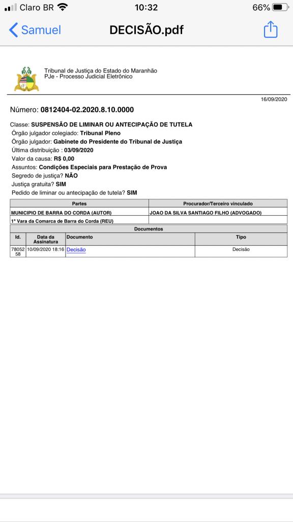 urgente presidente do tribunal de justica nega pedido de eric costa e mantem suspensao do concurso publico de barra do corda 576x1024 - URGENTE!! Presidente do Tribunal de Justiça nega pedido de Eric Costa e mantém suspensão do concurso público de Barra do Corda