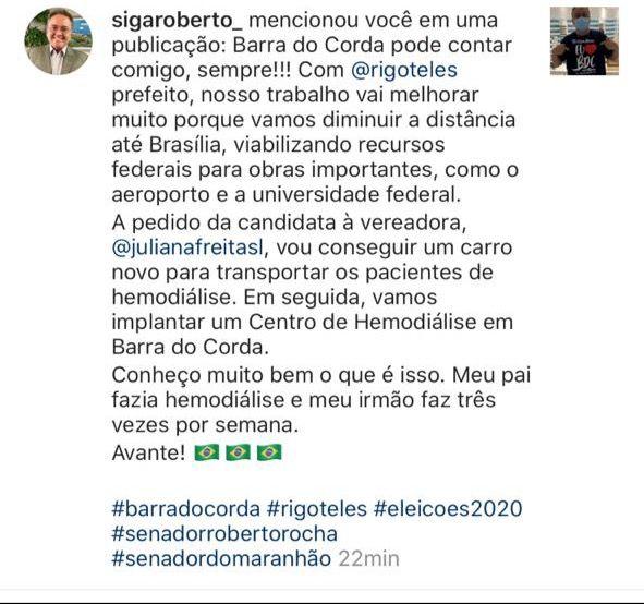 1 - Senador Roberto Rocha diz que a pedido de Rigo Teles e Juliana Freitas destinará recursos para construção de um centro de hemodiálise em Barra do Corda - minuto barra