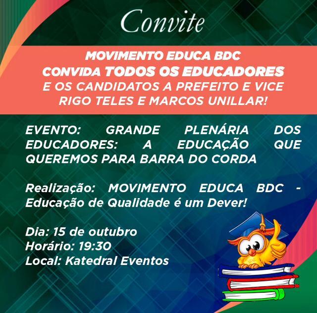Educadores de Barra do Corda participarão de grande plenária nesta quinta-feira(15) na Katedral Eventos