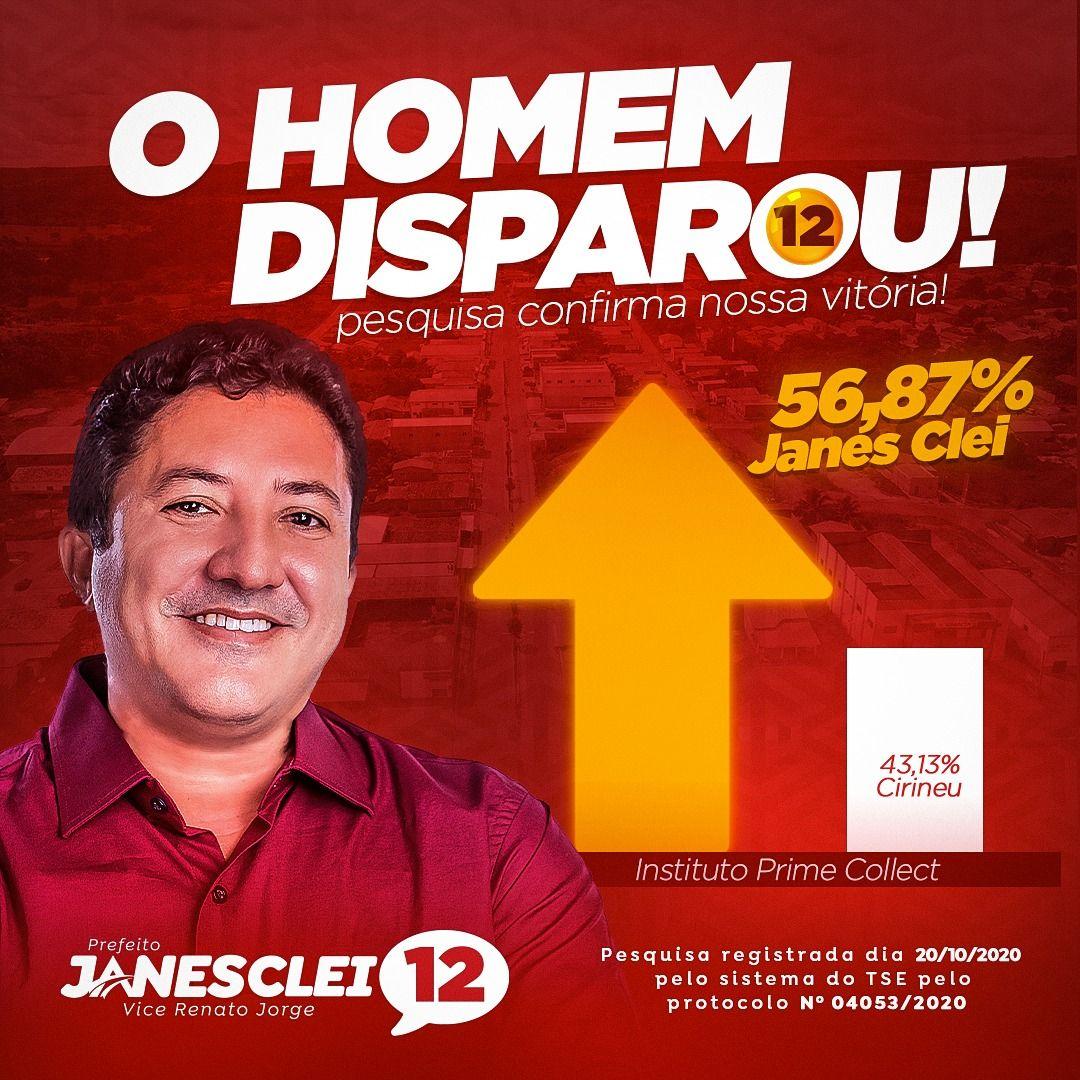 ELEIÇÕES 2020: Nova pesquisa mostra Dr Janes Clei com 56,87% em Formosa da Serra Negra
