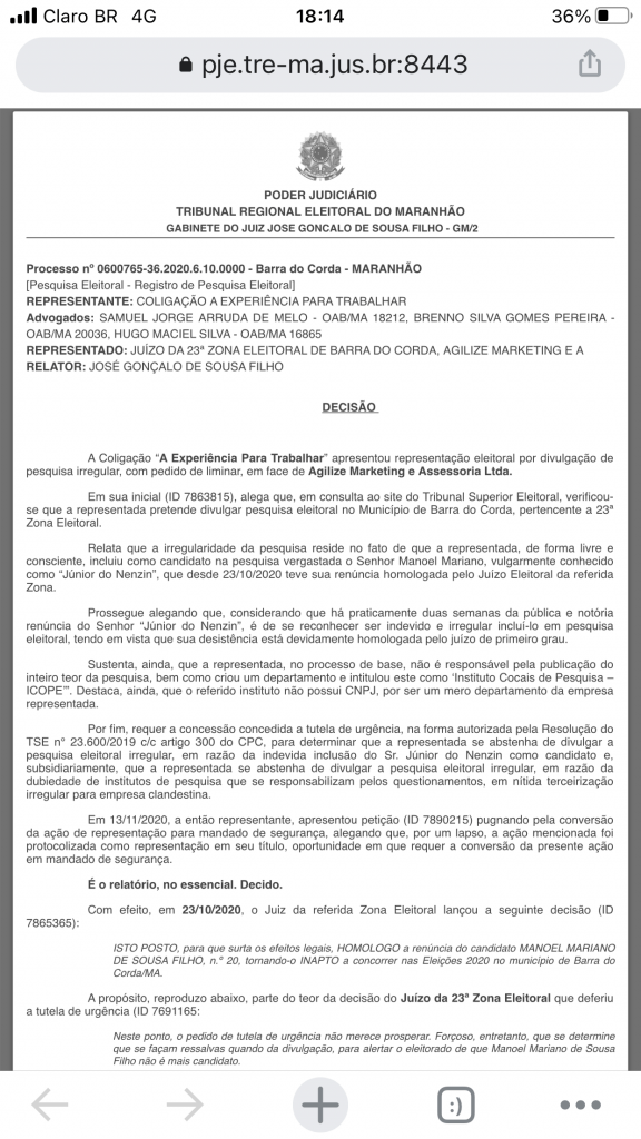urgente tre em sao luis acaba de proibir divulgacao de pesquisa feita pelo grupo de gil lopes em barra do corda 576x1024 - URGENTE!! TRE em São Luís acaba de proibir divulgação de pesquisa feita pelo grupo de Gil Lopes em Barra do Corda - minuto barra