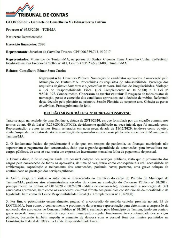 1 - TCE/MA manda prefeito Fernando Pessoa revogar edital que deu posse aos aprovados em concurso público de Tuntum