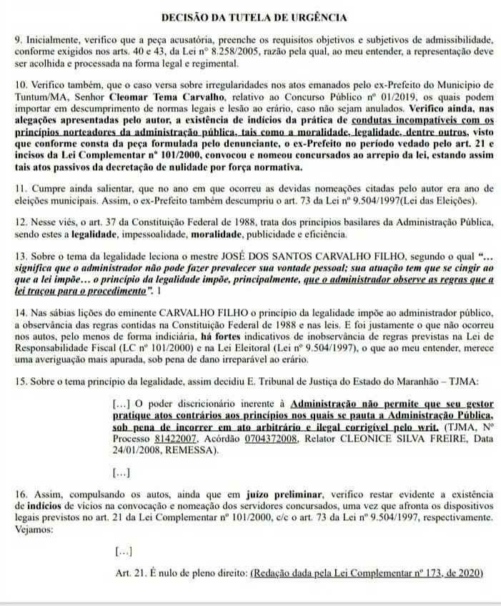 2 - TCE/MA manda prefeito Fernando Pessoa revogar edital que deu posse aos aprovados em concurso público de Tuntum