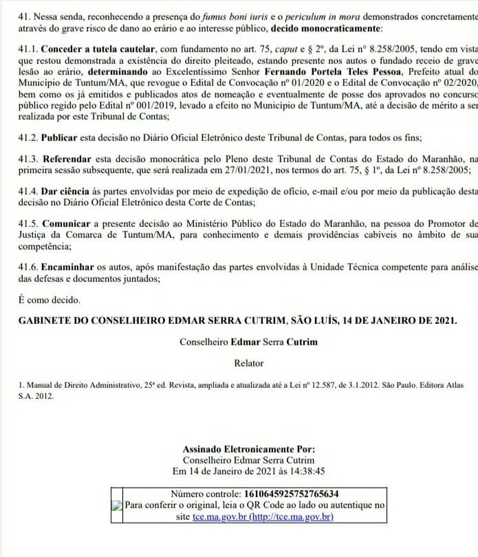 3 - TCE/MA manda prefeito Fernando Pessoa revogar edital que deu posse aos aprovados em concurso público de Tuntum