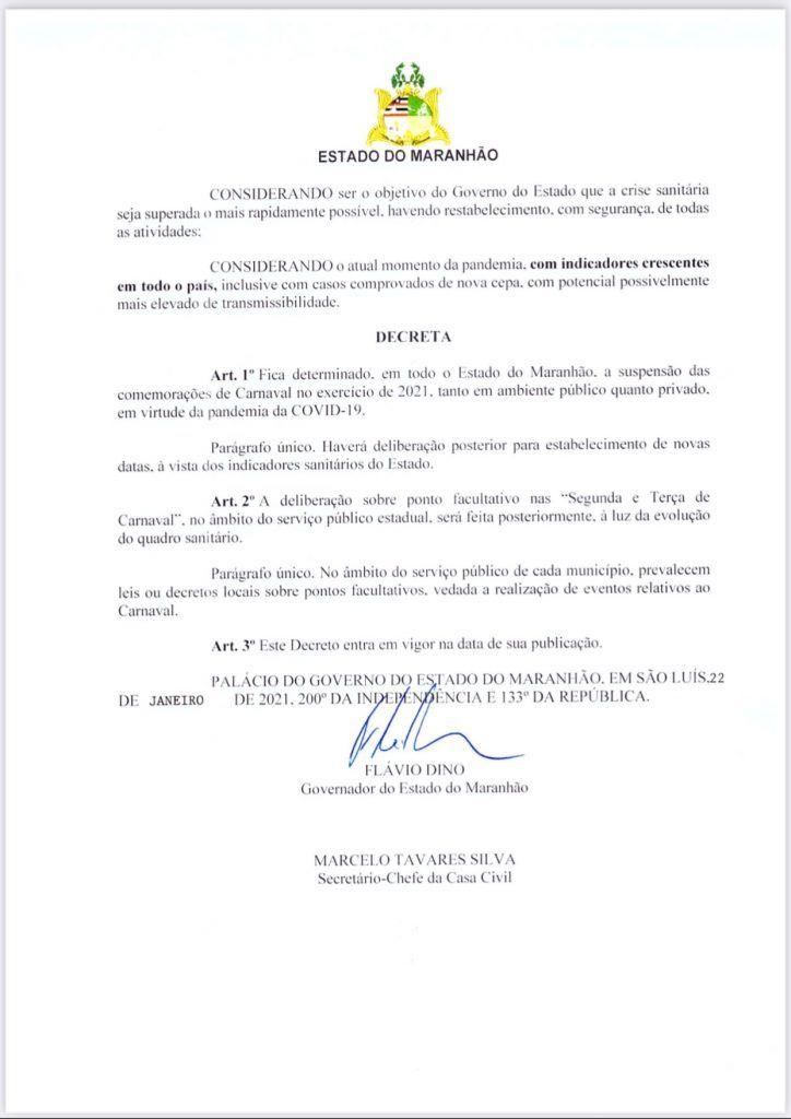governador flavio dino suspende carnaval em todo o maranhao 2 724x1024 - Governador Flávio Dino suspende carnaval em todo o Maranhão