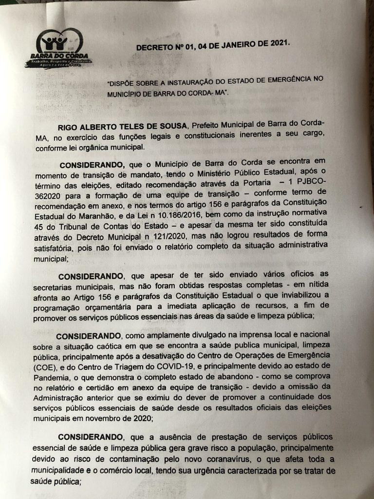 urgente prefeito rigo teles decreta estado de emergencia em barra do corda 1 768x1024 - URGENTE!! Prefeito Rigo Teles Decreta Estado de Emergência em Barra do Corda