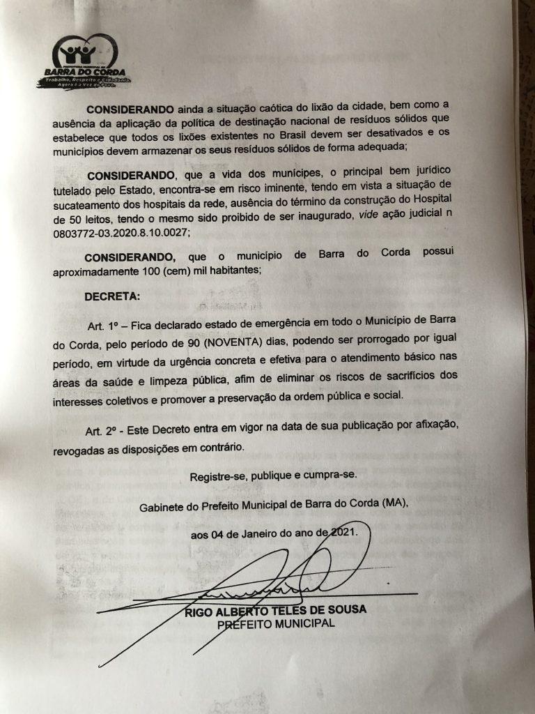 urgente prefeito rigo teles decreta estado de emergencia em barra do corda 2 768x1024 - URGENTE!! Prefeito Rigo Teles Decreta Estado de Emergência em Barra do Corda