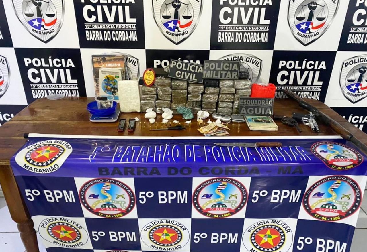 Polícias Civil e Militar realizam operação e prendem traficante com 30kg de drogas em Barra do Corda