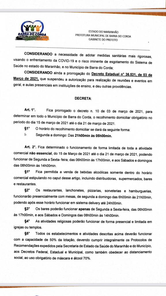 novo decreto assinado pelo prefeito rigo teles sofre alteracoes em barra do corda 1 576x1024 - Novo Decreto assinado pelo prefeito Rigo Teles sofre alterações em Barra do Corda