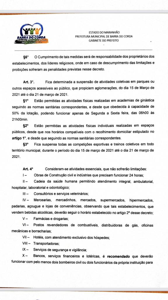 novo decreto assinado pelo prefeito rigo teles sofre alteracoes em barra do corda 2 576x1024 - Novo Decreto assinado pelo prefeito Rigo Teles sofre alterações em Barra do Corda