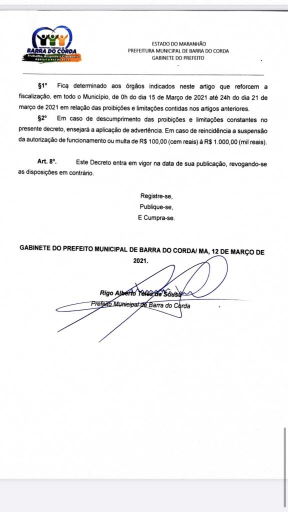 novo decreto assinado pelo prefeito rigo teles sofre alteracoes em barra do corda 4 576x1024 - Novo Decreto assinado pelo prefeito Rigo Teles sofre alterações em Barra do Corda