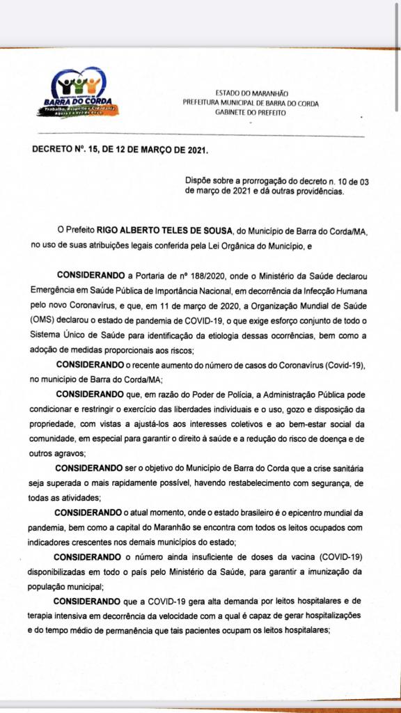 novo decreto assinado pelo prefeito rigo teles sofre alteracoes em barra do corda 576x1024 - Novo Decreto assinado pelo prefeito Rigo Teles sofre alterações em Barra do Corda
