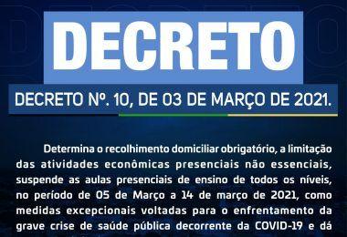 VEJA AQUI: Prefeito Rigo Teles proíbe aulas presenciais e decreta toque de recolher em Barra do Corda