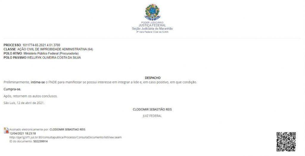 13 de abril juiz federal intima o fnde em acao do mpf contra o ex prefeito eric costa de barra do corda 1024x524 - 13 de Abril: Juiz Federal intima o FNDE em Ação do MPF contra o ex-prefeito Eric Costa de Barra do Corda