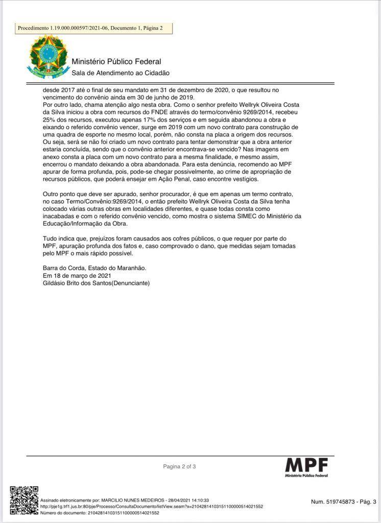 2904 mpf denuncia ex prefeito eric costa de barra do corda na justica federal e pede devolucao de r 11 milhao 4 746x1024 - 29/04: MPF denuncia ex-prefeito Eric Costa de Barra do Corda na Justiça Federal e pede devolução de R$ 1,1 milhão